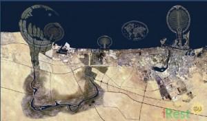 Острова в Дубай. Вид со спутника