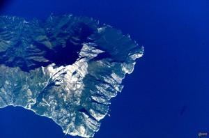 Гора Афон. Вид из космоса
