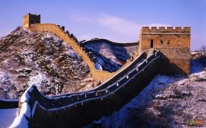 Великая китайская стена зимой. Фото