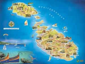 Схематичная карта Мальты